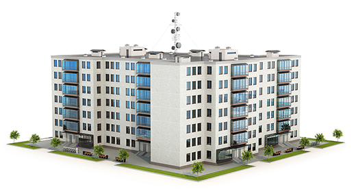 Graphical representation of a low-rise modern condominium